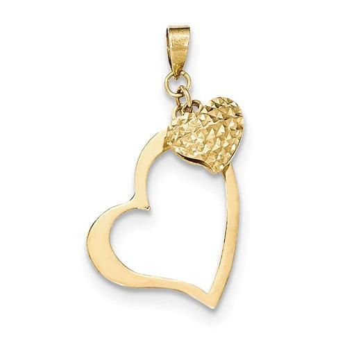14k Yellow Gold Open Heart & Puffed Heart Pendant