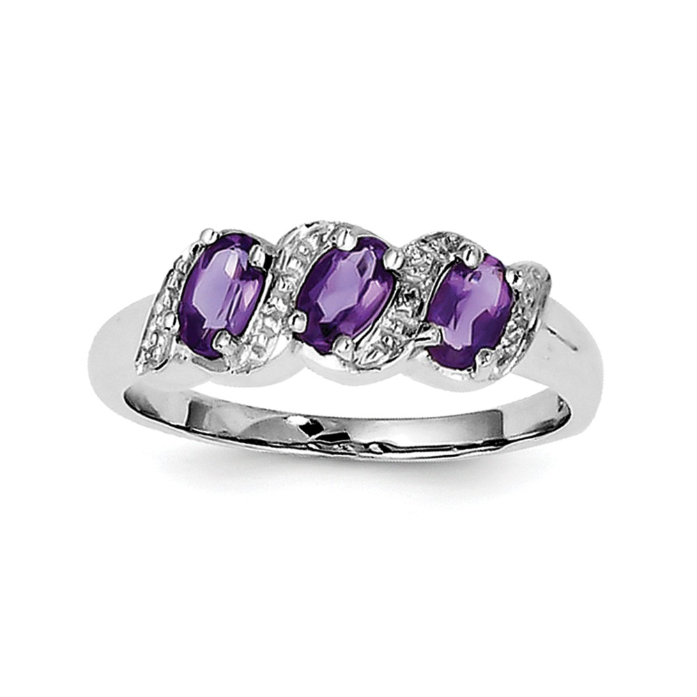 925 Sterling Silver (0.01cttw) Rhodium Amethyst and Diamond Ring by