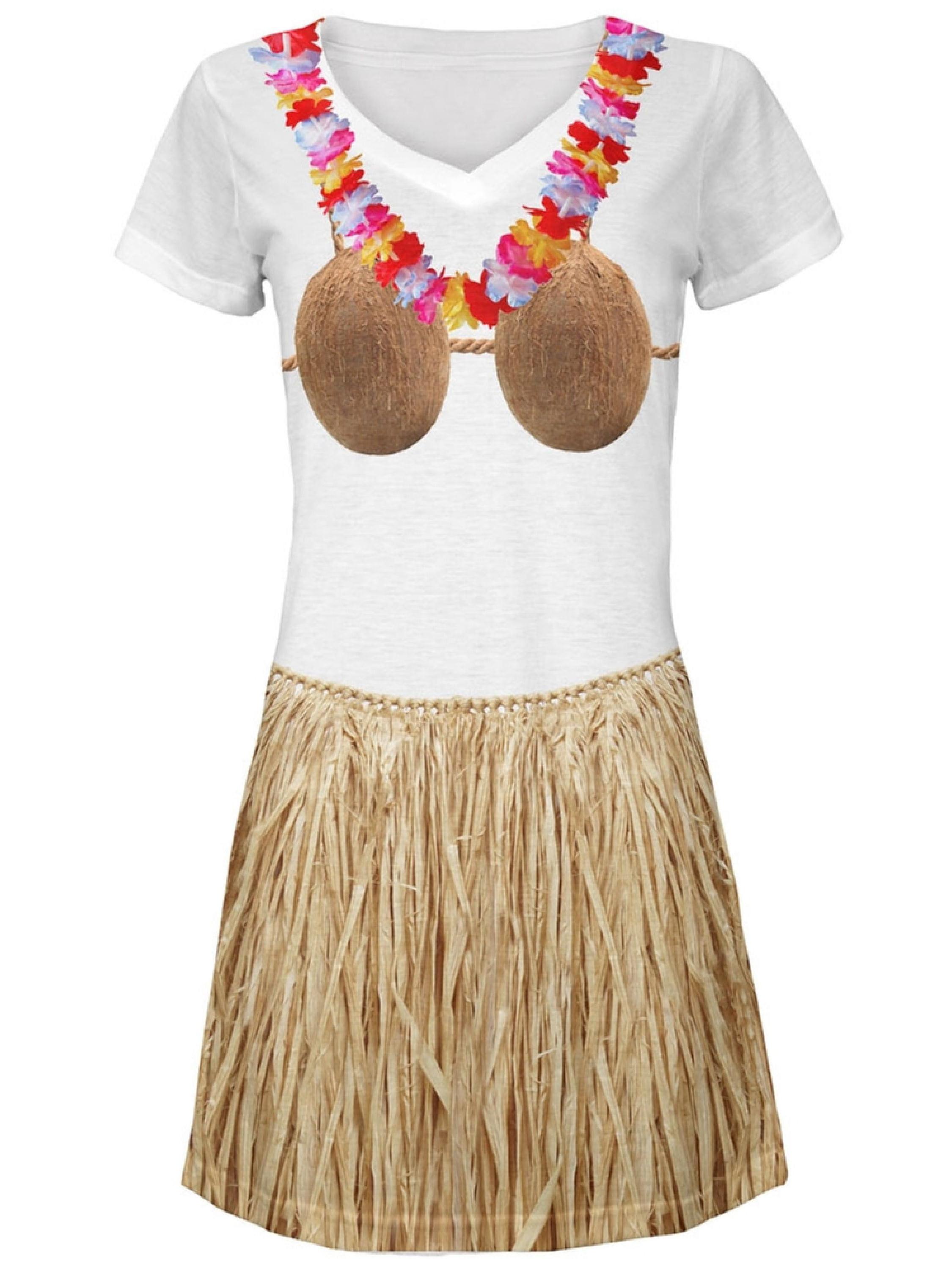 Coconut Bra Grass Skirt Hula Girl All Over Juniors V-Neck Dress