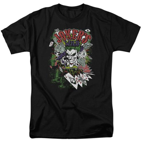 Batman Jokers Wild Mens Short Sleeve Shirt BLACK 2X