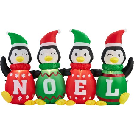 AirFlowz 6 ft. Inflatable Sweater Penguins, ETL Listed Adapter, Blower, Tether Ropes and Stakes - Holiday Inflatables