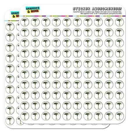 "Palm Tree Hawaii Luau Tropical Beach Wedding Shower 1/2"" (0.5"") Scrapbooking Crafting Stickers"