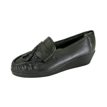 24 HOUR COMFORT Brenda Wide Width Moccasin Design Woven Leather Shoes BLACK 6.5