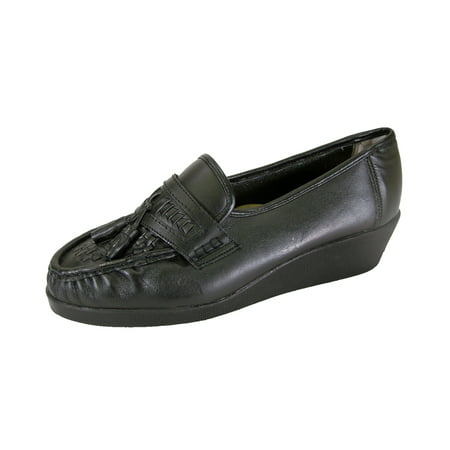 24 HOUR COMFORT Brenda Wide Width Moccasin Design Woven Leather Shoes BLACK 9
