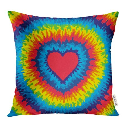 YWOTA Blue Tye Heart Love Rainbow Tie Dye Colorful Abstract Hippie Tiedye Sixties 1960 Pillow Cases Cushion Cover 18x18 inch - 1960 Hippie Fashion