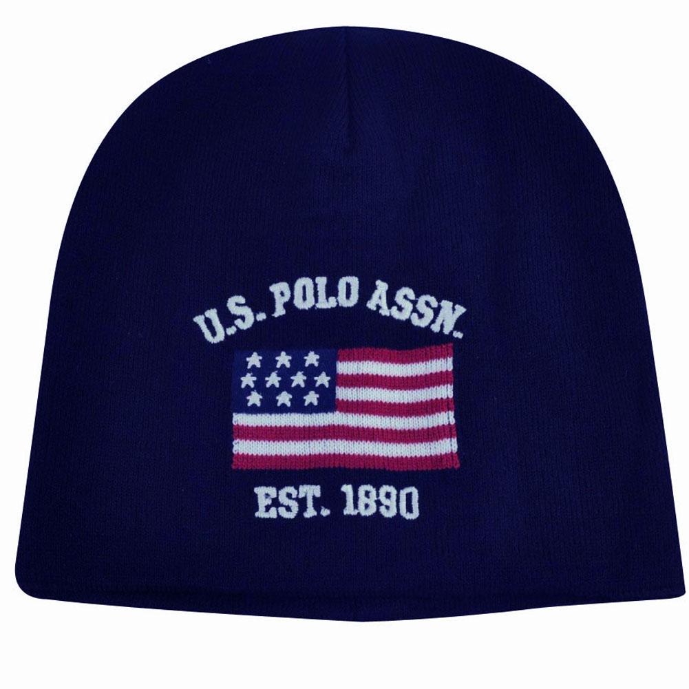 US Polo Assn Association Brand Flag Logo Cuffless Hat Navy Beanie Knit Toque