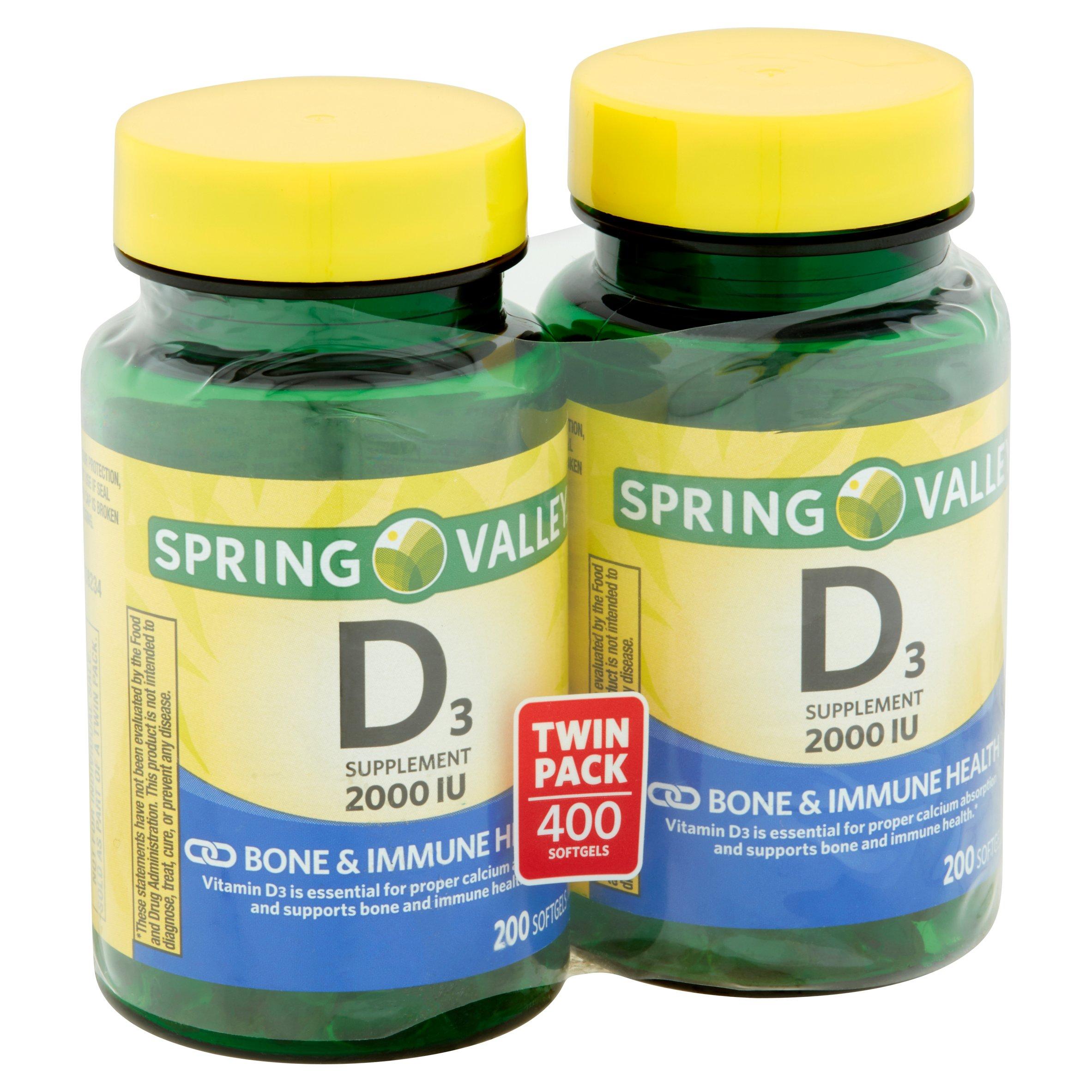 Spring Valley Vitamin D3 Softgels, 2000 IU, 200 Ct, 2 Pk