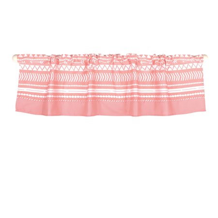 The Peanut Shell Window Valance - Coral Pink Geometric Tribal Print - 100% Cotton Sateen, 53 Inches Wide, 14 Inch Drop