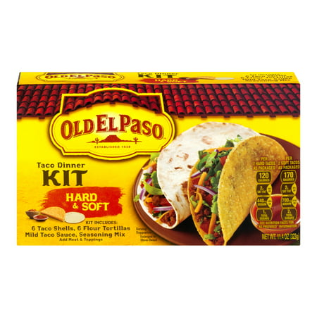 (4 Pack) Old El Paso⢠Hard & Soft Taco Dinner Kit 11.4 oz (Lumpia Wrapper)