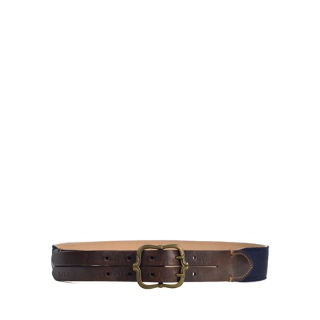 Paul Smith Womens Brown Leather Navy Canvas Double Prong Belt