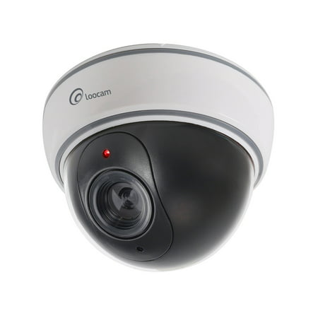 Loocam Indoor Outdoor Imitation Decoy Fake Dummy Dome Security Camera With Flashing Red Led Light  Dome