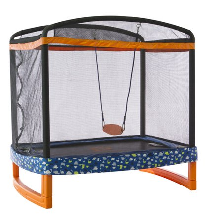 JUMP POWER 72u0022 x 50u0022 Rectangle Indoor/Outdoor Trampoline & Safety Net Enclosure with Swing Combo-for Children & Toddlers
