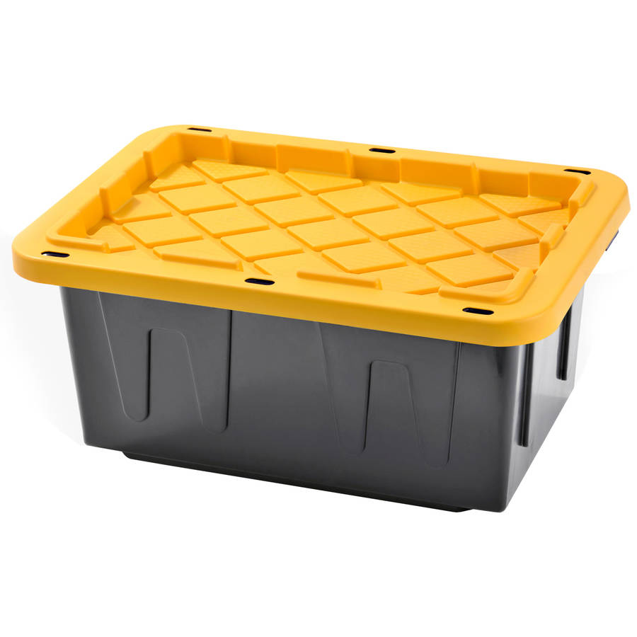 Plastic Heavy Duty Storage Tote Box, 15 Gallon, Black with Yellow Snap Lid, Stackable, 4-PACK