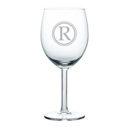 Wine Glass Goblet Circle Monogram Letter (R, 10 oz),MIP - Monogrammed Wine Glasses