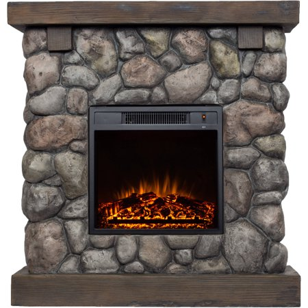 "Buy Polyfiber Electric Fireplace with 38"" Mantle at Walmart.com"