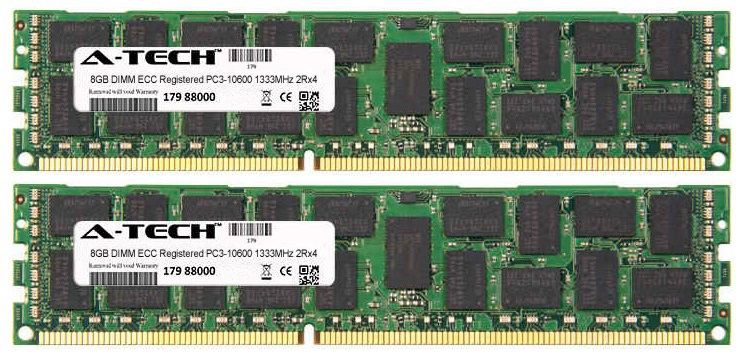 16GB Kit 2x 8GB Modules PC3-10600 1333MHz 2Rx4 ECC Registered DDR3 DIMM Server 240-pin Memory Ram