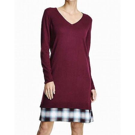 5e70f39ab2b Joe Fresh Dresses - Joe Fresh Women s Medium V-Neck Plaid Hem Sweater Dress  - Walmart.com