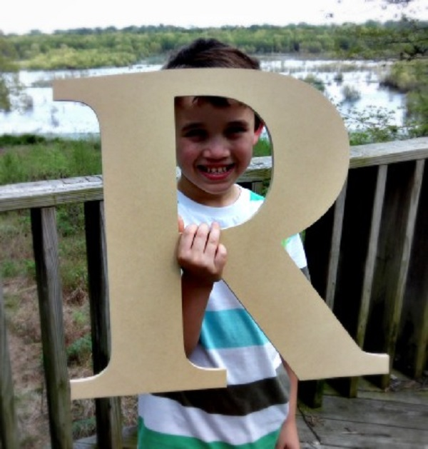 Paintable Wood Letter, 24'' Times R, Large Wooden Letter, Craft