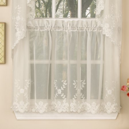 Laurel Leaf Sheer Voile Embroidered Kitchen Curtains 36