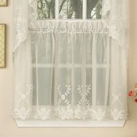 "Laurel Leaf Sheer Voile Embroidered Kitchen Curtains 36"" x 60"" Tier Pair"