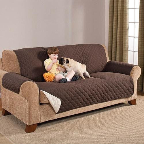 Reversible Quilted Furniture Protector Sofa Couch Pets Slip Cover Brown & Beige