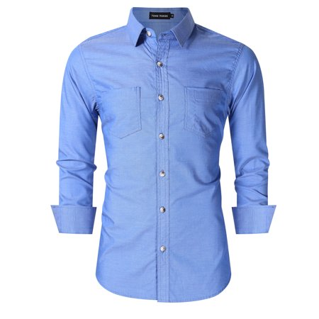 Yong Horse Men's Classic Slim Fit Long Sleeve Casual Western Oxford Shirts Blue 2XL