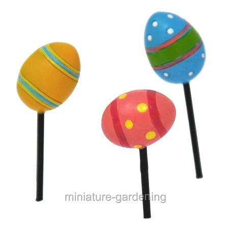 Miniature Happy Easter Egg Picks, 3 Piece Set for Miniature Garden, Fairy Garden (Easter Fairy)