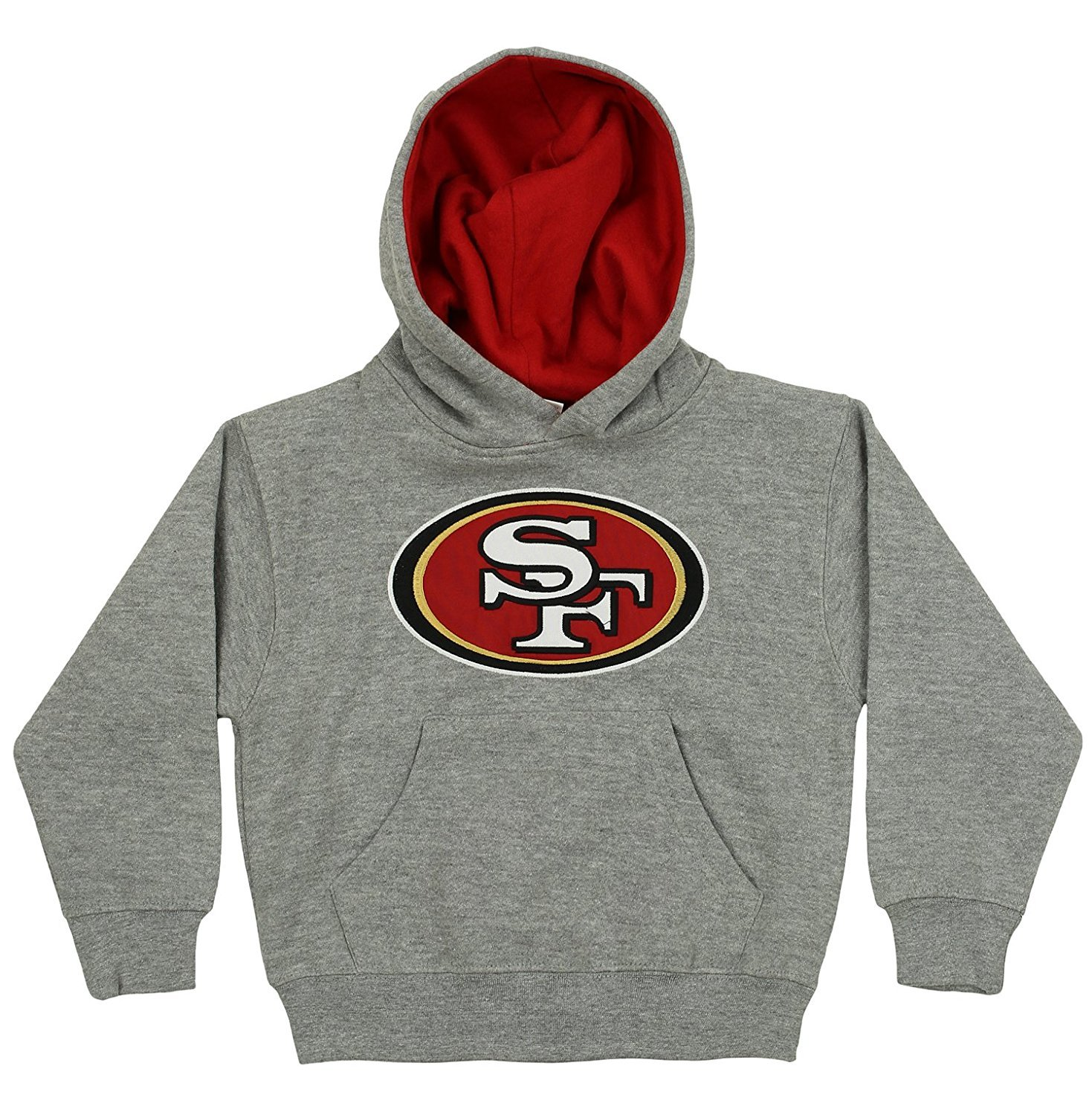 OuterStuff NFL Kids San Francisco 49ers Prime Pullover Hoodie, Gray