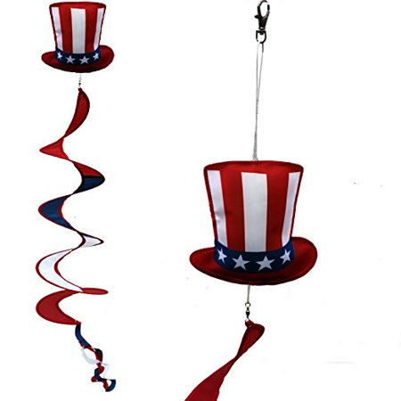 U.S.A. Patriotic Wind Spinner Decoration - Uncle Same Hat, Porch Wind Twirler, Garden Decoration 6