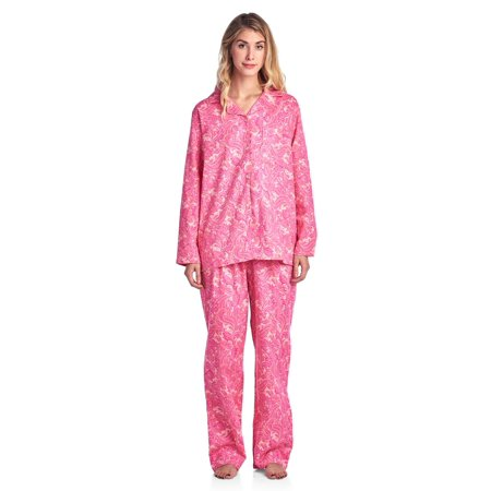 Casual Nights - Casual Nights Women s Flannel Long Sleeve Button Down Pajama  Set - Walmart.com a302a4c45