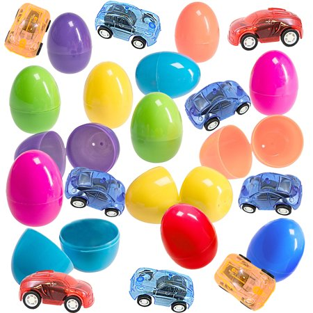 Cars Easter Eggs (12 Toy Filled Easter Eggs With Miniature Wind-Up Car Toys, Assorted Colors - Ready To Hide And Hunt - Save Time With Convenient, Reusable Filled Eggs - Perfect As Easter)
