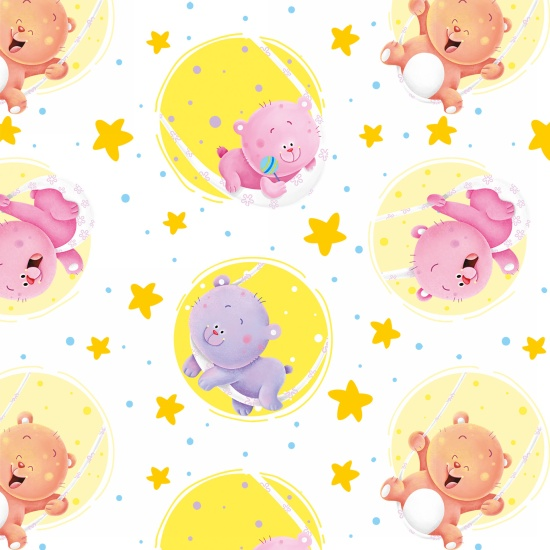 Wish Upon a Star~Bears in Circles - Henry Glass Cotton Flannel Fabric