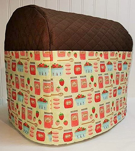 Quilted Strawberries & Jam Kitchenaid Tilt Head Stand Mixer Cover (Chocolate Brown)