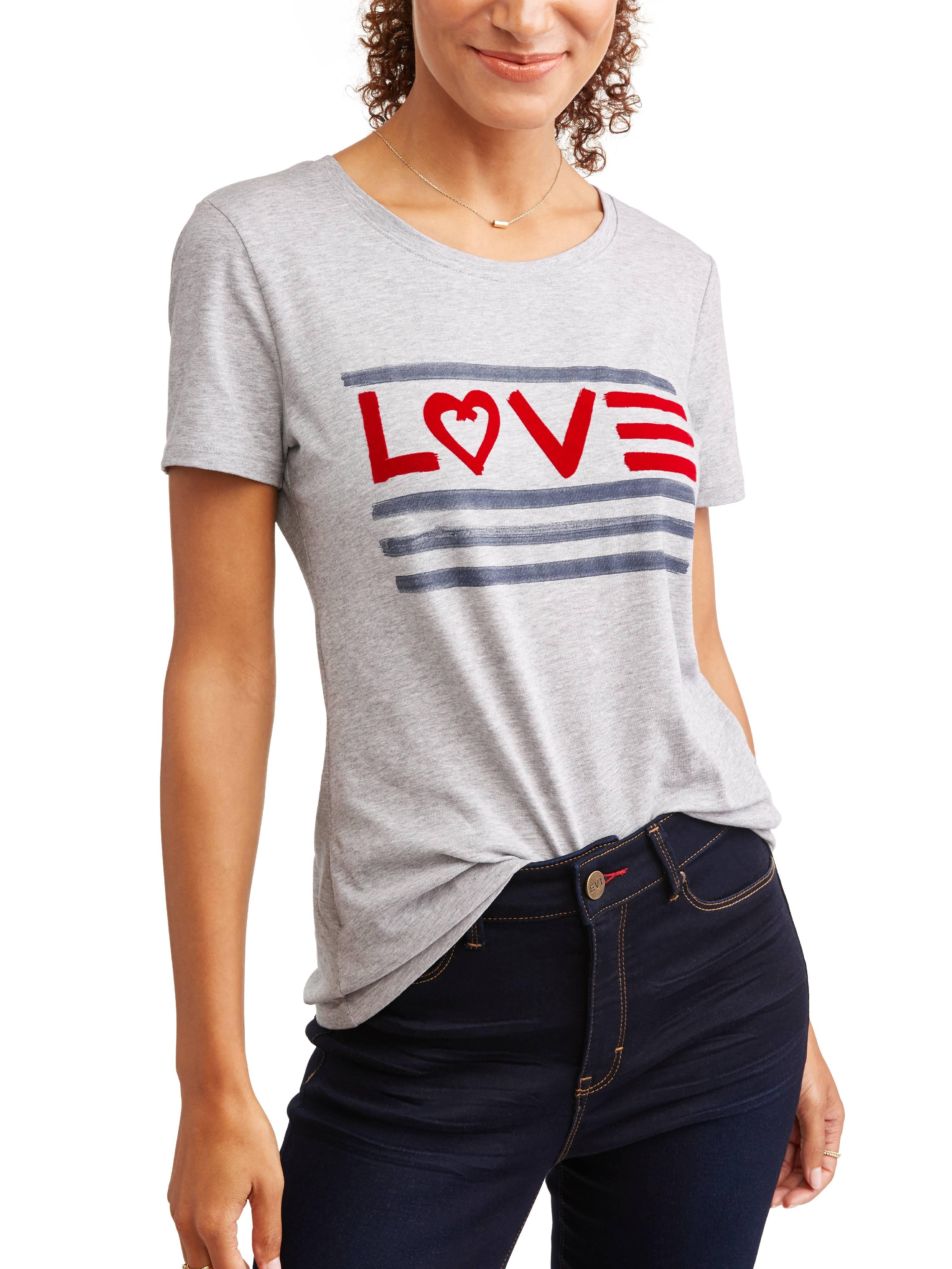 Love Flag Crew Neck Graphic Tee Women's