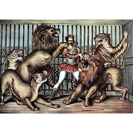 Lion Tamer In Cage With Lions Circus Poster Print