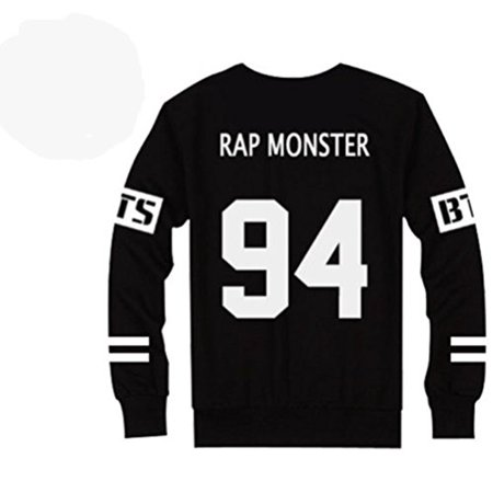 Bts Bangtan Boys Black Hoody Sweater Pullover  Rap Monster  Xl