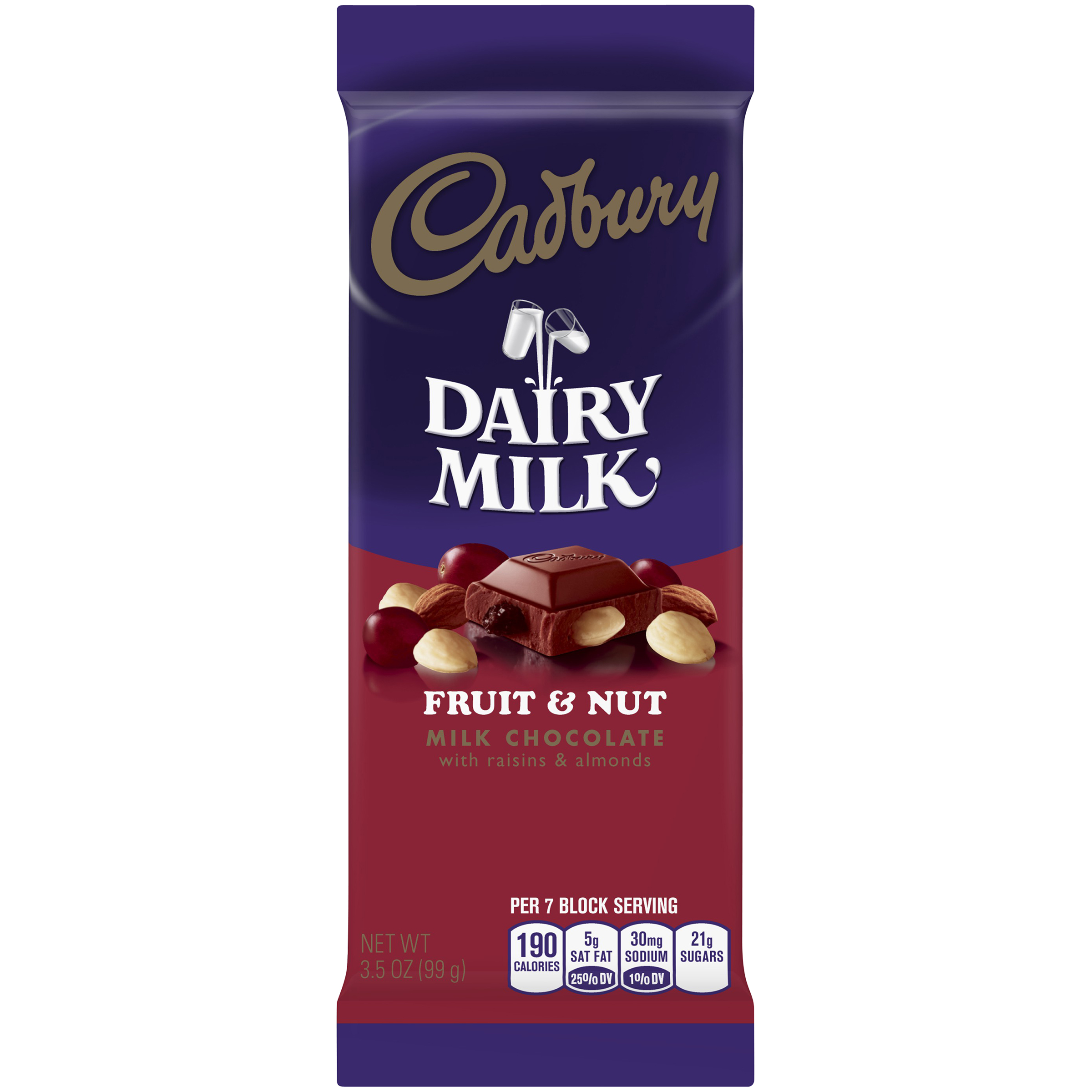 CADBURY DAIRY MILK Fruit & Nut Milk Chocolate Bar, 3.5 oz