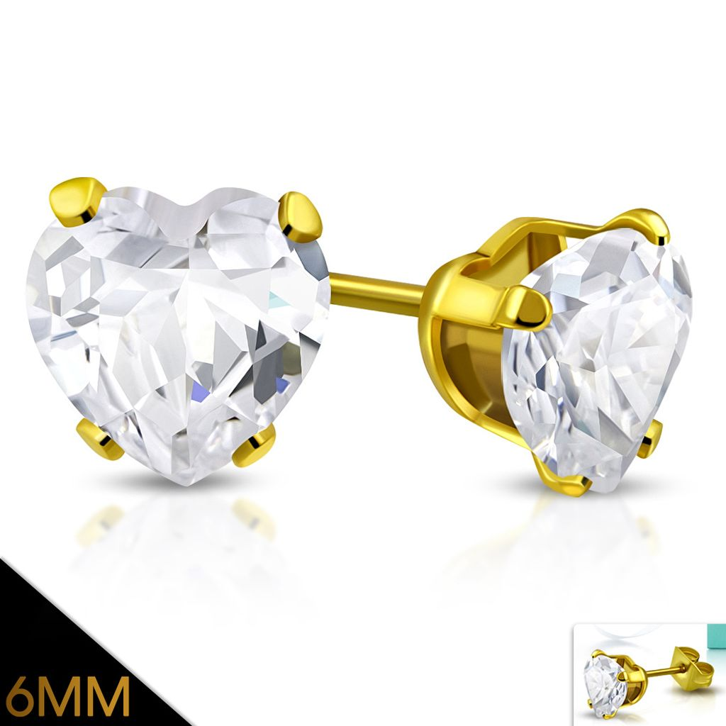6mm Gold Color Plated Stainless Steel Prong Love Heart Stud Earrings w Clear CZ