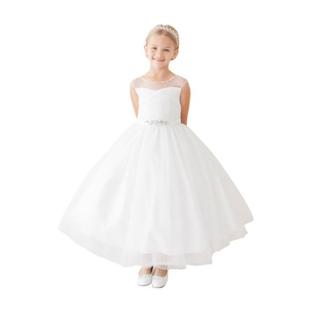 Girls White Illusion Neck Beaded Lace Belted Junior Bridesmaid Dress (White Girl Dresses)