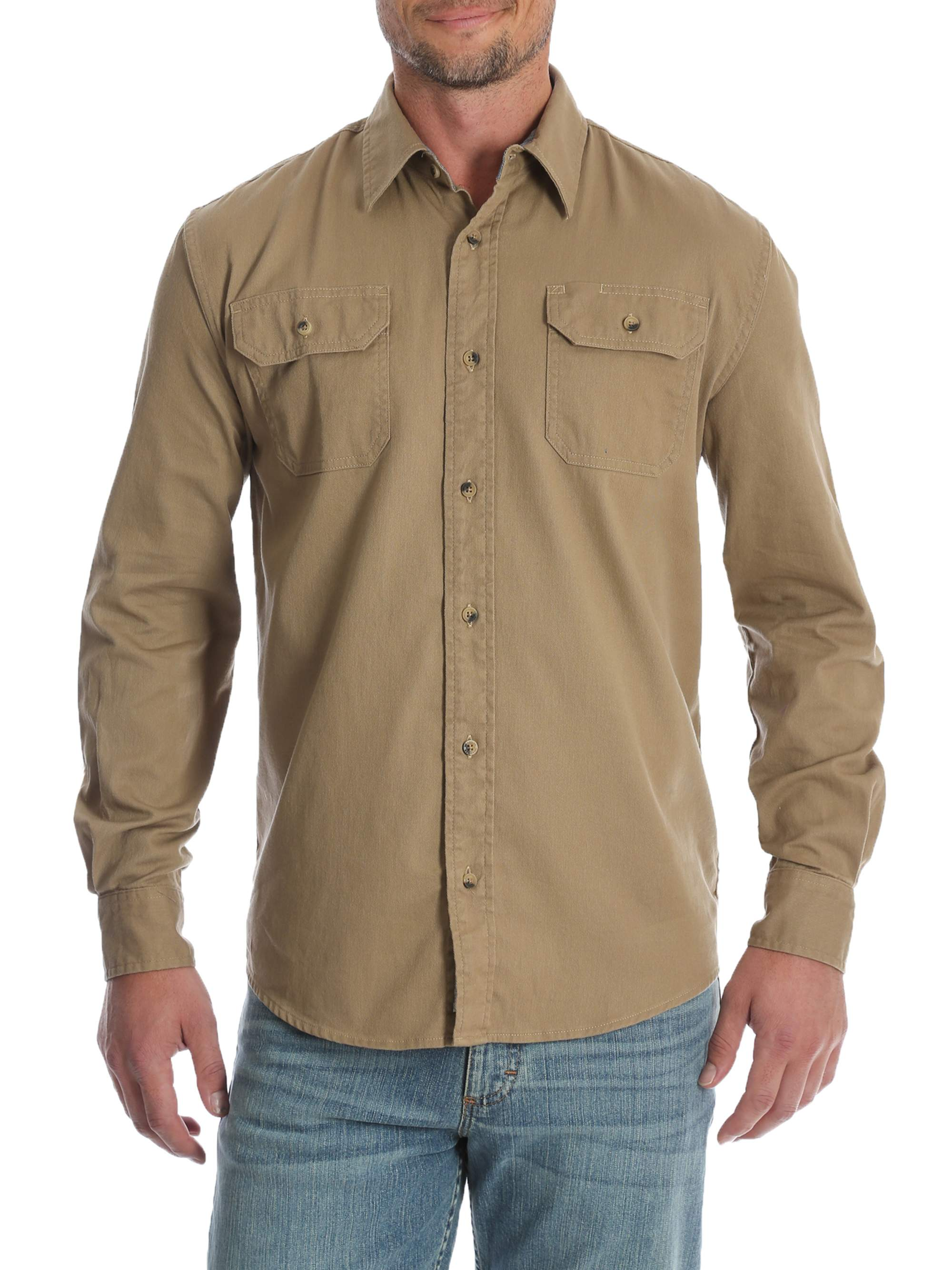 da1474f969 Wrangler Men s and Big   Tall Long Sleeve Stretch Twill Shirt