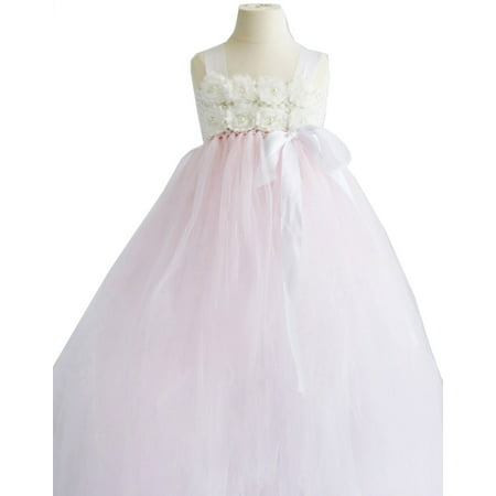 Efavormart Blossomy Bodice and Pink Sheer Tulle Skirt Flower Birthday Girl Dress Junior Flower Girl Wedding Party Gown Girls Dress for $<!---->