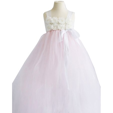 Efavormart Blossomy Bodice and Pink Sheer Tulle Skirt Flower Birthday Girl Dress Junior Flower Girl Wedding Party Gown Girls Dress