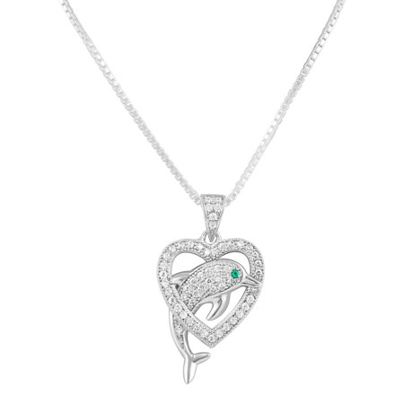 Sterling Silver Simulated Diamond Dolphin Heart Necklace 18""