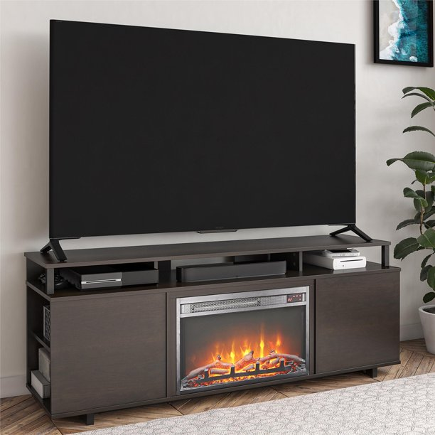 """Ameriwood Home Carson Fireplace TV Stand for TVs up to 65"""", Espresso"""