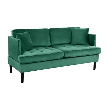Mid Century Modern Velvet Loveseat Sofa with Tufted Seats (Green)