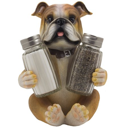 Sitting Bulldog Glass Salt and Pepper Shaker Set with Decorative Dog Figurine Display Stand Holder for Puppy or Pets Kitchen Decor by Home 'n Gifts