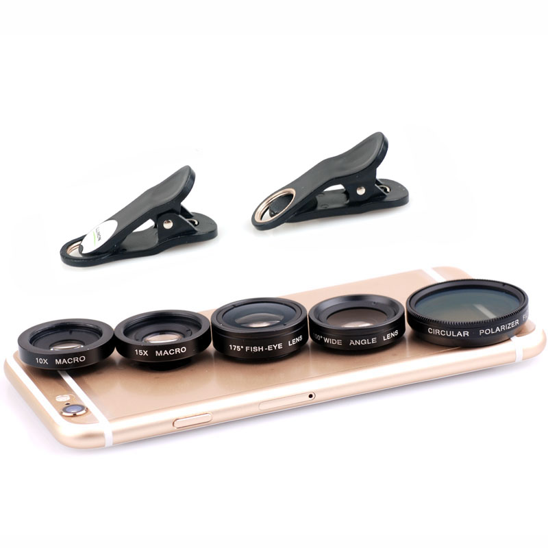 5 in 1 Clip On Camera Lens Kit Fisheye+Wide Angle+Macro+CPL Polarizer for iPhone Samsung HTC Tablet Ect