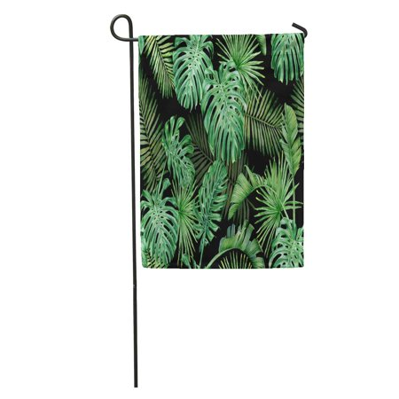POGLIP Green Tropical Leaves on Dark Palm Trees and Monstera Watercolor Garden Flag Decorative Flag House Banner 28x40 inch - image 1 of 2