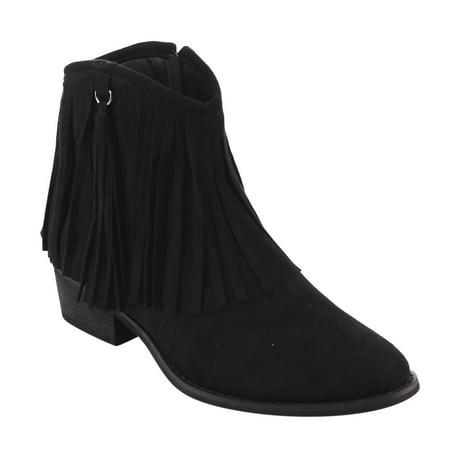 Reneeze Ae17 Womens Side Zipper Fringe Low Block Heel Dress Ankle Booties