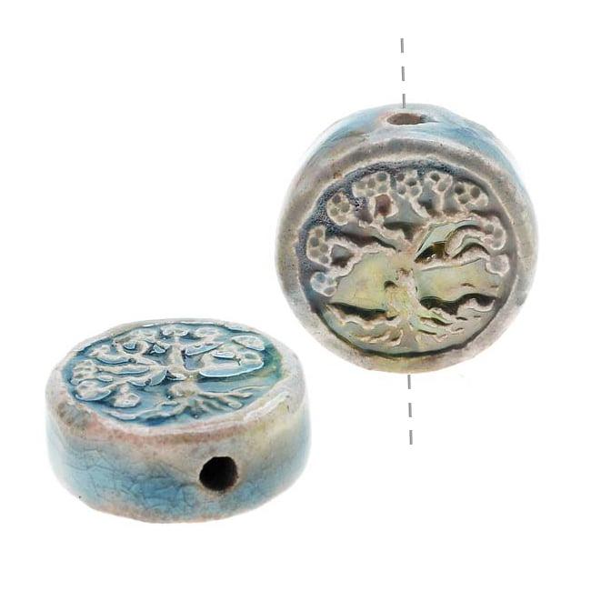 High Fire Ceramic Bead - Round Tree Of Life 13mm (2)